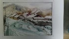 水彩习作雪景3