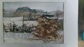 水彩习作雪景4