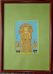 木版画明信片 长谷寺观世音菩萨 唐风造像 附画框