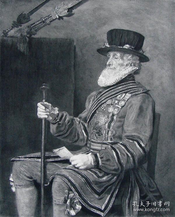 """1886年凹版蚀版画《皇家卫士》 —英国皇家艺术科学院院长""""约翰·埃弗里特·米莱斯(John Everett Millais,1829-1896年)""""作品 尺寸:32x24cm"""