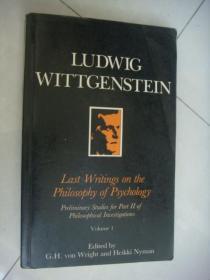 LUDWIG WITTGENSTEIN:Last Writing on the Philosophy of Psychology (vol 1) 英语和德语,双语对照版