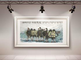 精品来袭【保真名家精品】【刘之光】中国美术家协会会员/ 国家一级美术师/南京市美协副主席/四尺国画/骆驼/88《任重道远》(68×136CM)