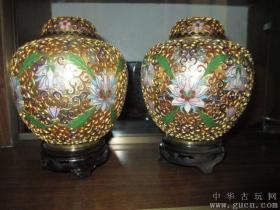 老北京掐丝珐琅镀金景泰蓝西瓜罐
