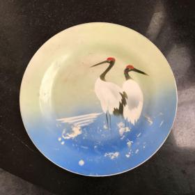 中国唐山彩色喷绘手绘瓷盘子 丹顶鹤图案