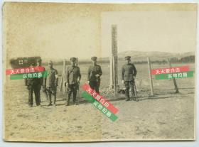 民国侵华日军关东军石本权四郎被击毙处老照片, 有日军军官合影和军用救护车
