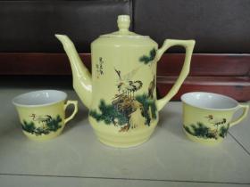 八十年代手绘仙鹤壶和杯子两个宁家沟煤矿奖一套