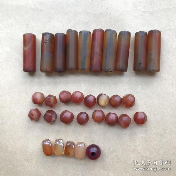 清代玛瑙珠、玛瑙管共31个合售