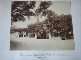 清末1881年香港植物公园轿子风景蛋白老照片一张