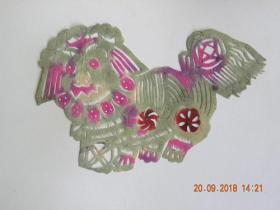 山西民间老艺人剪纸-狮子滚绣球(50年代)