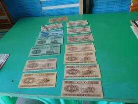 第三套人民币壹分11张贰分1张伍分2张合售  用透明胶粘贴在一起  品如图  邮册1