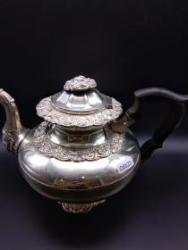 西洋 欧洲古董 餐具 茶壶 咖啡壶 银壶 800银 底部有13标记 1881年前生产 585克
