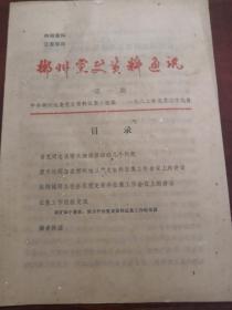 创刊号:郴州党史资料通讯  1982年