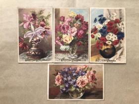 五十年代法国彩色明信片:花卉图案4张一组(绘画版),M024