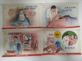 建国初期五十年代山西省人民政府卫生厅印制的卫生防疫宣传画4张