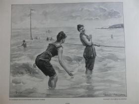 【现货】1890年木刻版画《浴场乐趣》(Badvergnügen) 尺寸约41*28厘米  (货号600211)