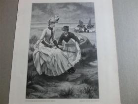 【现货】1890年木刻版画《沙滩上》(Am Strande) 尺寸约41*28厘米  (货号600213)