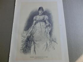 【现货】1890年木刻版画《手拿刺花的女士》(Dornblüthe) 尺寸约41*28厘米  (货号600214)