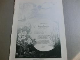 【现货】1890年木刻版画《春天,诗配画》(Frühling) 尺寸约41*28厘米  (货号600216)