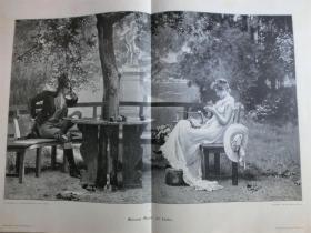 【现货】1888年巨幅木刻版画《恋爱中》(Jn Liebe)尺寸约54.2*40.8厘米 (货号600218)