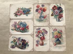 五十年代法国彩色明信片:花卉图案7张一组(绘画版),M027