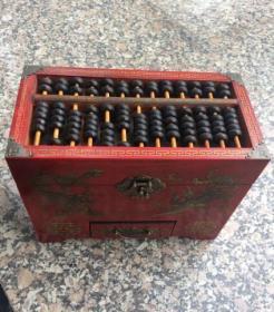 收来的早年老漆器盒 账房漆器盒带算盘