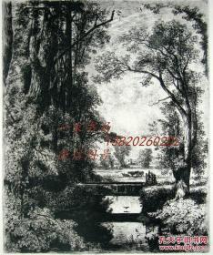 """1874年1版蚀""""真正的蚀刻铜版画""""《郊外宁静的小河》——""""John Mallows Youngman"""" 作品 版内签名 34.5x25cm"""