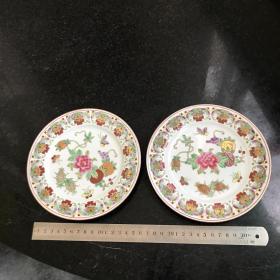创汇时期景德镇彩绘盘子一对 蝶恋花图案