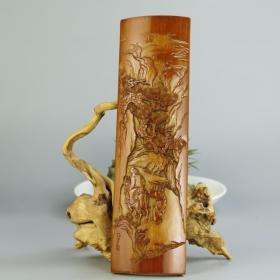 百年老竹纯手工雕刻笔搁 臂搁 茶则 四川工艺美术大师李征宇作品