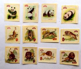 火花贴标:熊猫、老虎、狮子(12枚)江西火柴
