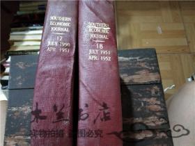 原版英法德意等外文书 SOUTHERN ECONOMIC JOURNAL 17-18兩本 JULY 1951 APR 1952 小16開硬精裝