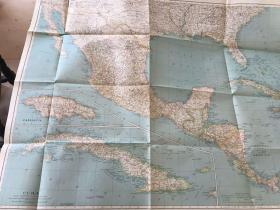 民国23年 墨西哥 中美洲和印度地图 英文原版1934年版