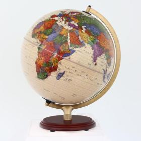32cm中英文政区仿古地球仪-(灯光型木座合金架)-学生专用-113221