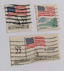 美国邮票(国旗邮票3枚)