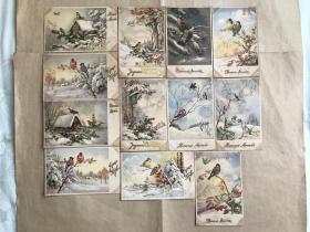 五十年代比利时彩色明信片:新年雪景麻雀图案12张一组(绘画版),M030