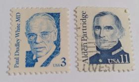美国邮票(医学心脏病之父怀特等信销票2枚没有重复不是一套票)