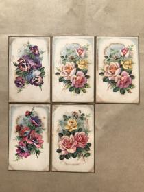 五十年代法国彩色明信片:花卉图案5张一组(绘画版),M032