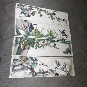 丝织画,花鸟画4屏,27x92公分,