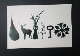 外国空白明信片 美术图案 绿色抽象动植物题材