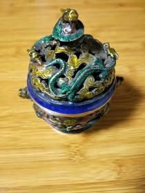 景泰蓝香炉,黄铜海鳝龙盖,香薰炉,大明宣德款,摆件。详细看图