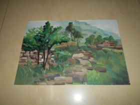 水粉画《河北昌黎碣石山》两幅(安娜 创作)