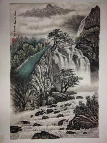 新四军老战士,原内蒙古自治区书记王群国画作品《通天瀑》