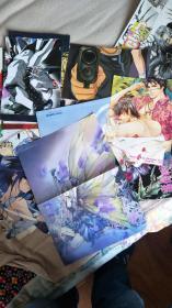 日本漫画期刊赠送宣传画43张【精美漂亮稀有!】架子上