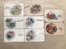 五十年代法国彩色明信片:花鸟花卉图案8张一组(绘画版),M033