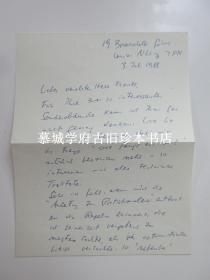 大师级艺术史家贡布里希(E.H. GOMBRICH)致国汉学家傅海波( HERBERT FRANKE)信一封(1988.7.3),含信封。讨论他对中国艺术的了解