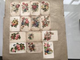 五十年代捷克斯洛伐克彩色明信片:花卉图案14张一组(绘画版),M034