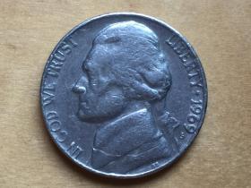 美国 5分 硬币 5cent  1969