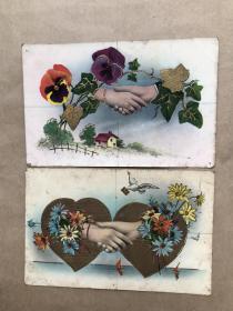 五十年代意大利彩色明信片:男女握手图案2张一组(摄影版),M036