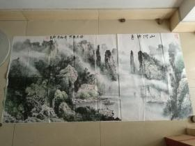 中国十大国礼书画家,广西著名画家林泽峰:书画作品一付(包真)
