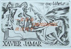 """法国艺术家.""""Michel JAMAR(1911-1997) """"铜版藏书票—《两裸女与书籍》"""