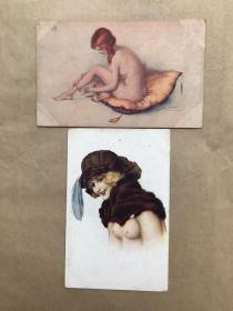 五十年代法国彩色明信片:裸体美女画2张一组(绘画版),M039
